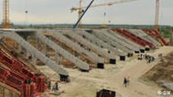 Stand des Stadionsbaus für Euro 2012 in Lemberg