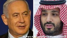 صورة رمزية مركبة لولي العهد السعودي محمد بن سلمان ورئيس الوزراء الإسرائيلي بنيامين نتنياهو