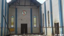 zerstörte Kirche Autor: Privat, November 2020 Ort: Mosambik, Cabo Delgado Thema: Terror Anschlag in Nordmosambik