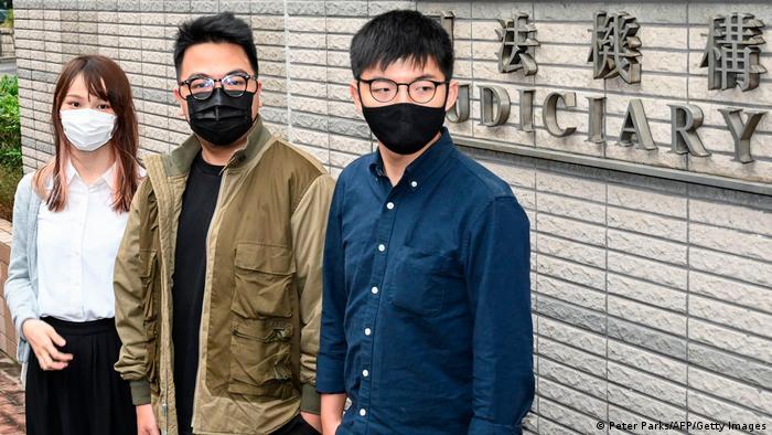 Гонконгские активисты Агнес Чоу, Айван Лам и Джошуа Вонг
