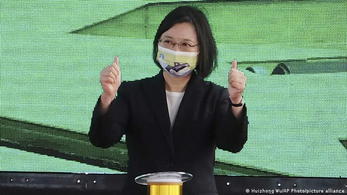Taiwan's President Tsai Ing-wen gestures during a ceremony