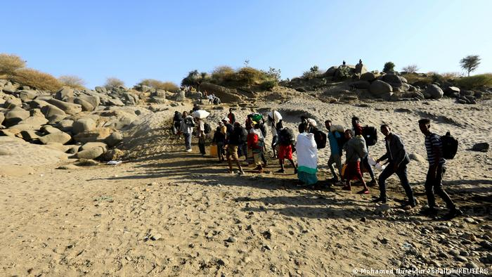 A group of people fleeing the Tigray region in Ethiopia