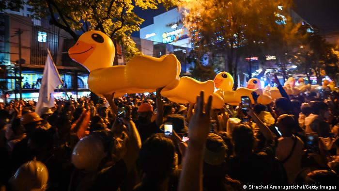 Rubber ducks have emerged as the new symbol of the pro-democracy movement. The large inflatable toys were initially used to mock authorities who sealed off the parliament building, which is situated on a river bank in the capital Bangkok. When water cannons pummeled the peaceful crowds, protesters used the ducks as improvised shields.