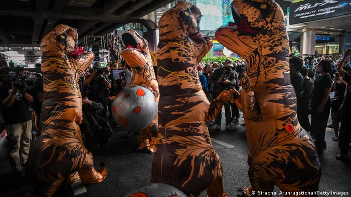 During a rally, a group of activists, known as the Bad Students, dubbed the government dinosaurs for their outdated mindset. The activists said they see themselves as meteorites that push government officials into extinction if they refuse to change. The Bad Students are also demanding an overhaul of Thailand's lackluster education system.