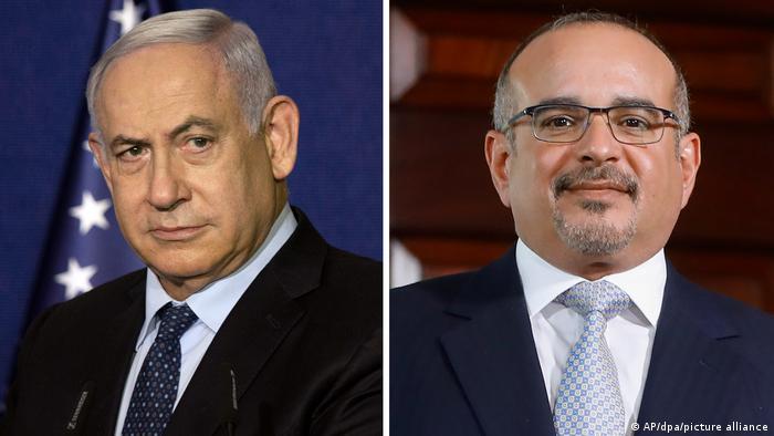 Benjamin Netanyahu (left) and Crown Prince Salman bin Hamad Al Khalifa