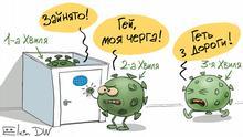 Karikatur von Sergey Elkin | zweite und dritte Welle des Coronavirus UK