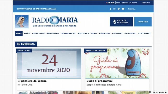 Italien | Radio Maria | Screenshot Website