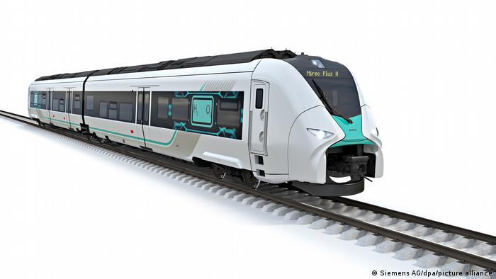 Computer generated image of new Siemens hydrogen-powered train unit