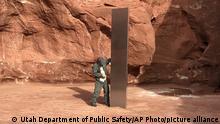 العمود المعدني الغامض الذي أكتشف في صحراء يوتا الأمريكية