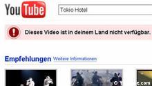 Überschrift: YouTube entfernt deutsche Musikvideos. Beschreibung: Nach dem Scheitern der Verhandlungen mit GEMA macht YouTube betroffene Musikvideos unzugänglich für User aus Deutschland. Stichwörter: youtube, gema, musikvideos, deutschland