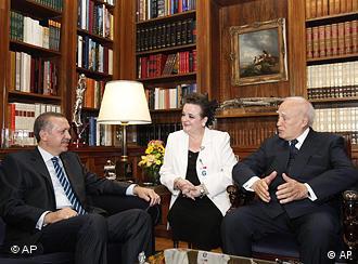 Greek President Karolos Papoulias,talks with Turkish Prime Minister Tayyip Erdogan