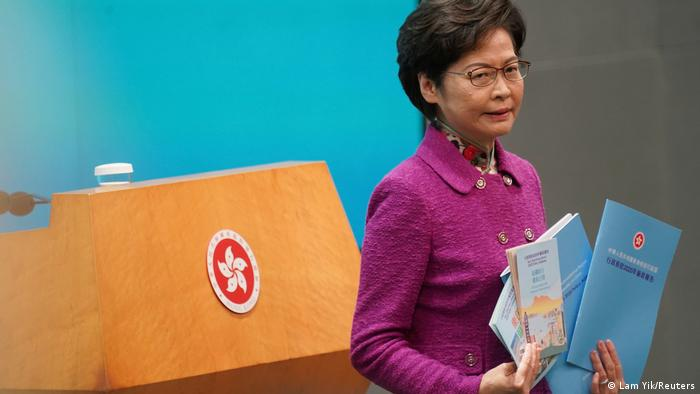 Hongkong Chief Executive Carrie Lam addresses the media after her annual policy address