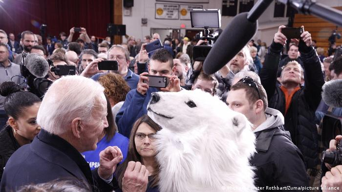 US President Joe Biden meets a climate activist dressed as a polar bear while campaigning