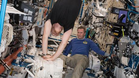 Astronaut Alexander Gerst practicing CPR on the International Space Station