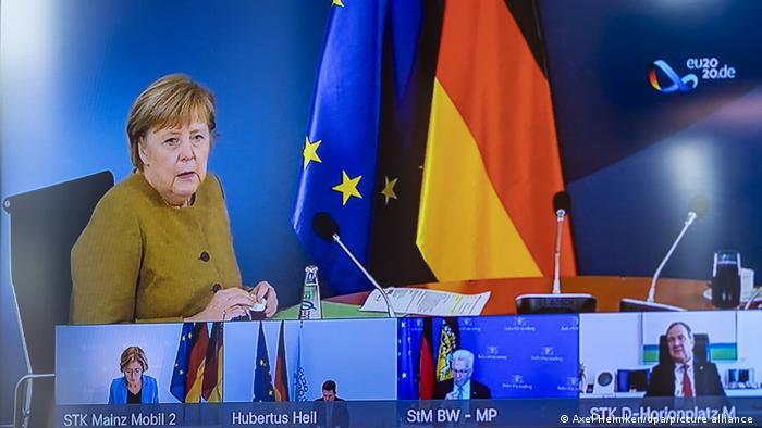 Deutschland Covid-19 | Bundeskanzlerin und Ministerpräsidenten beraten in Videokonferenz