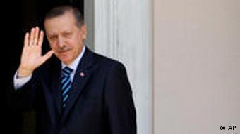 Turkish Prime minister Recep Tayyip Erdogan waving