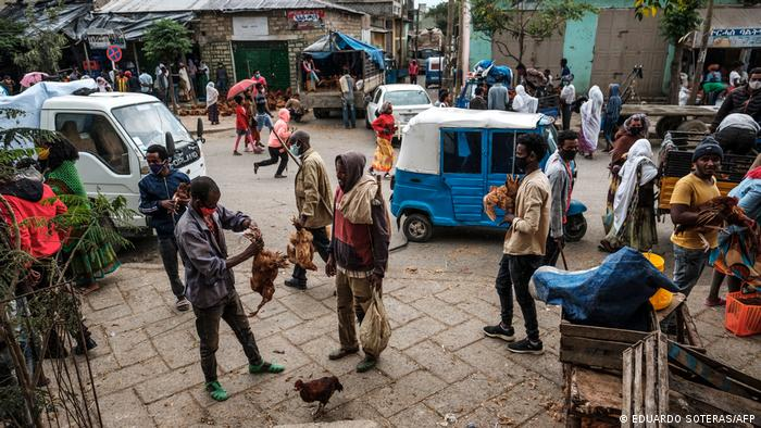 People gather on a street in Mekele