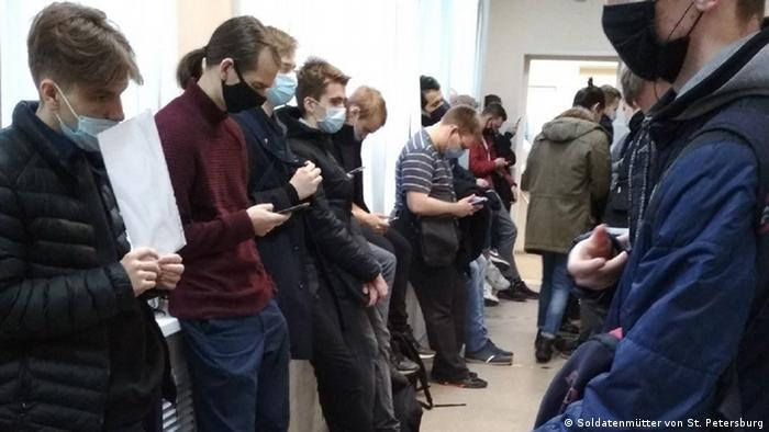 Russian military conscripts line up for medical exams