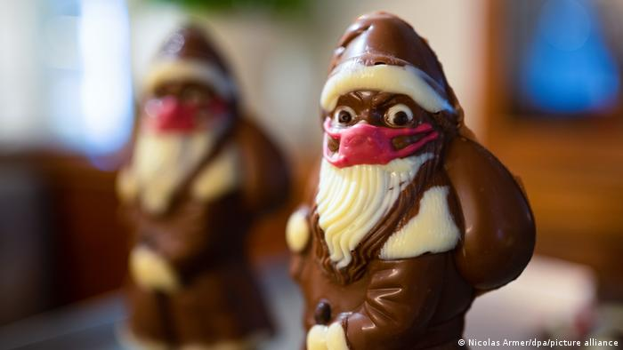 Chocolate Santas with red face masks