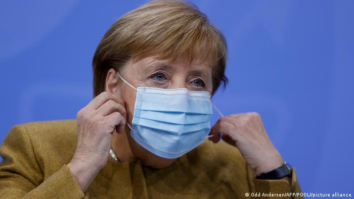 Chancellor Angela Merkel give a press conference