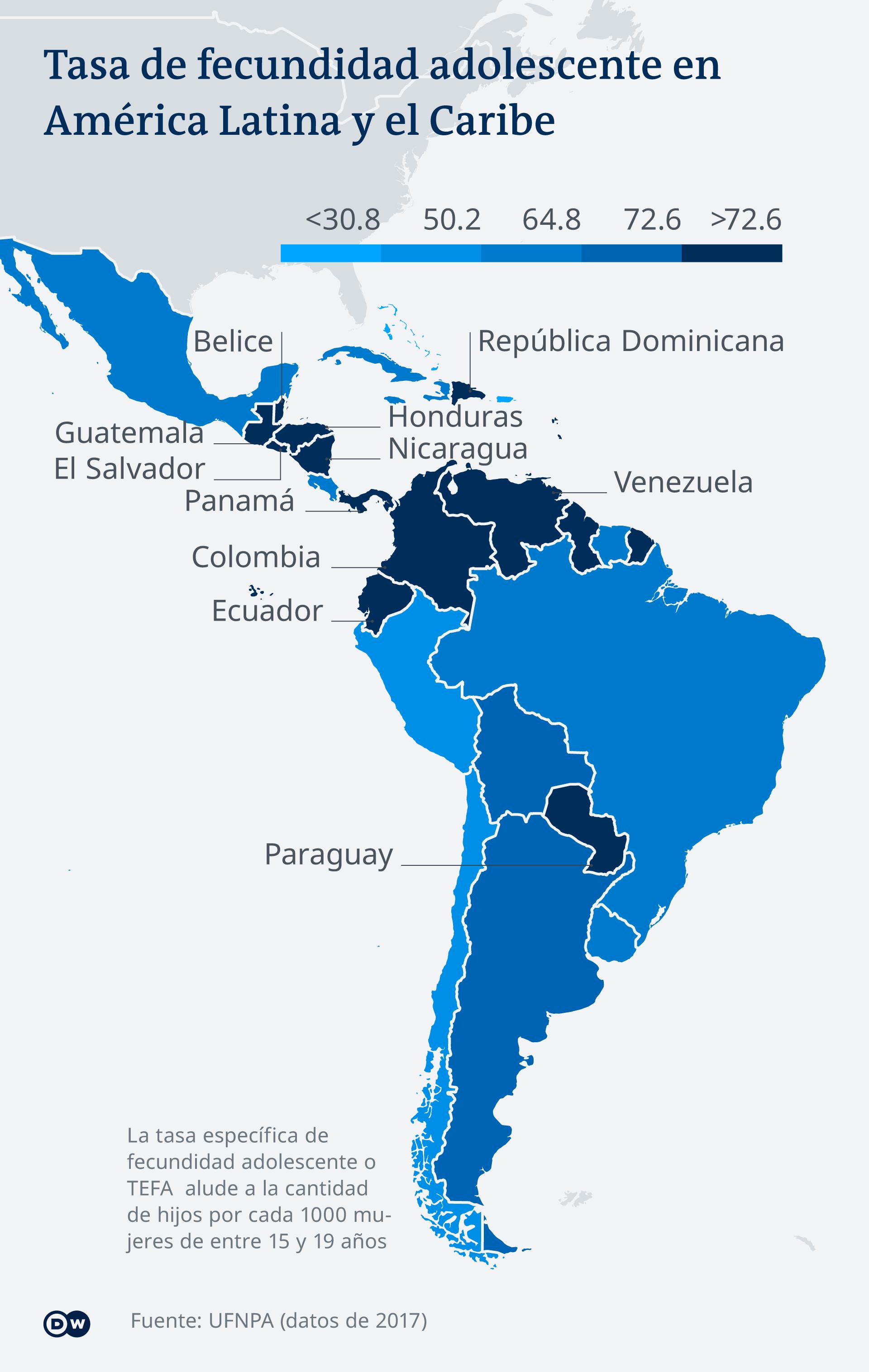 Infografik Karte Schwangerschaft junge Frauen Lateinamerika ES