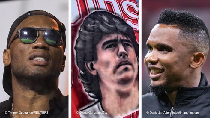 Kombobild Didier Drogba, Diego Maradona und Samuel Eto'o