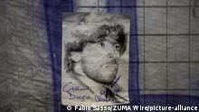 Italien Gedenk-Plakat an Diego Maradona in Neapel