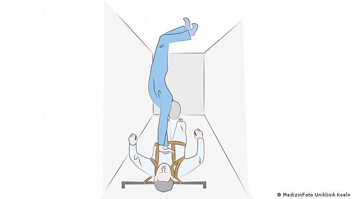 Illustration for cardiopulmonary resuscitation (CPR) during spaceflight, courtesy of Prof. Jochen Hinkelbein. This shows the handstand method.