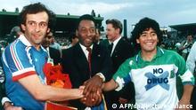 Fußball - Michel Platini, Pele und Diego Maradona