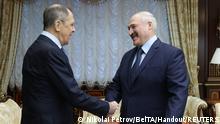 Weißrussland I Sergej Lawrow zu Besuch in Minsk, mit Wladimir Makej und Lukaschenko