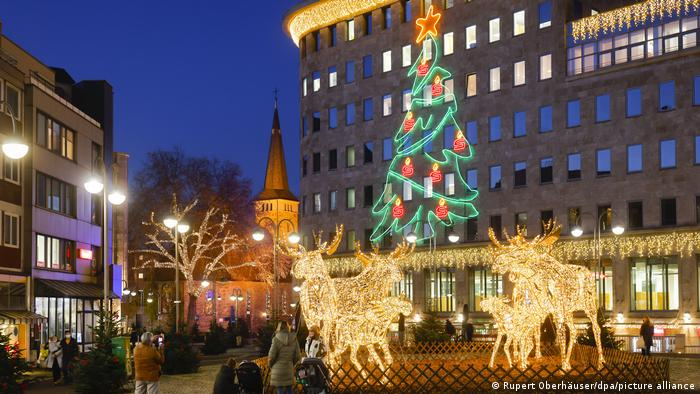 Christmas lighting in the city center of Bochum