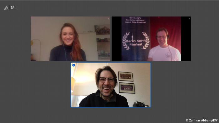 Screenshot from DW interview with Berlin Sci-fi Filmfest organizers, Isabella Hermann and Anthony Straeger, and DW science editor, Zulfikar Abbany