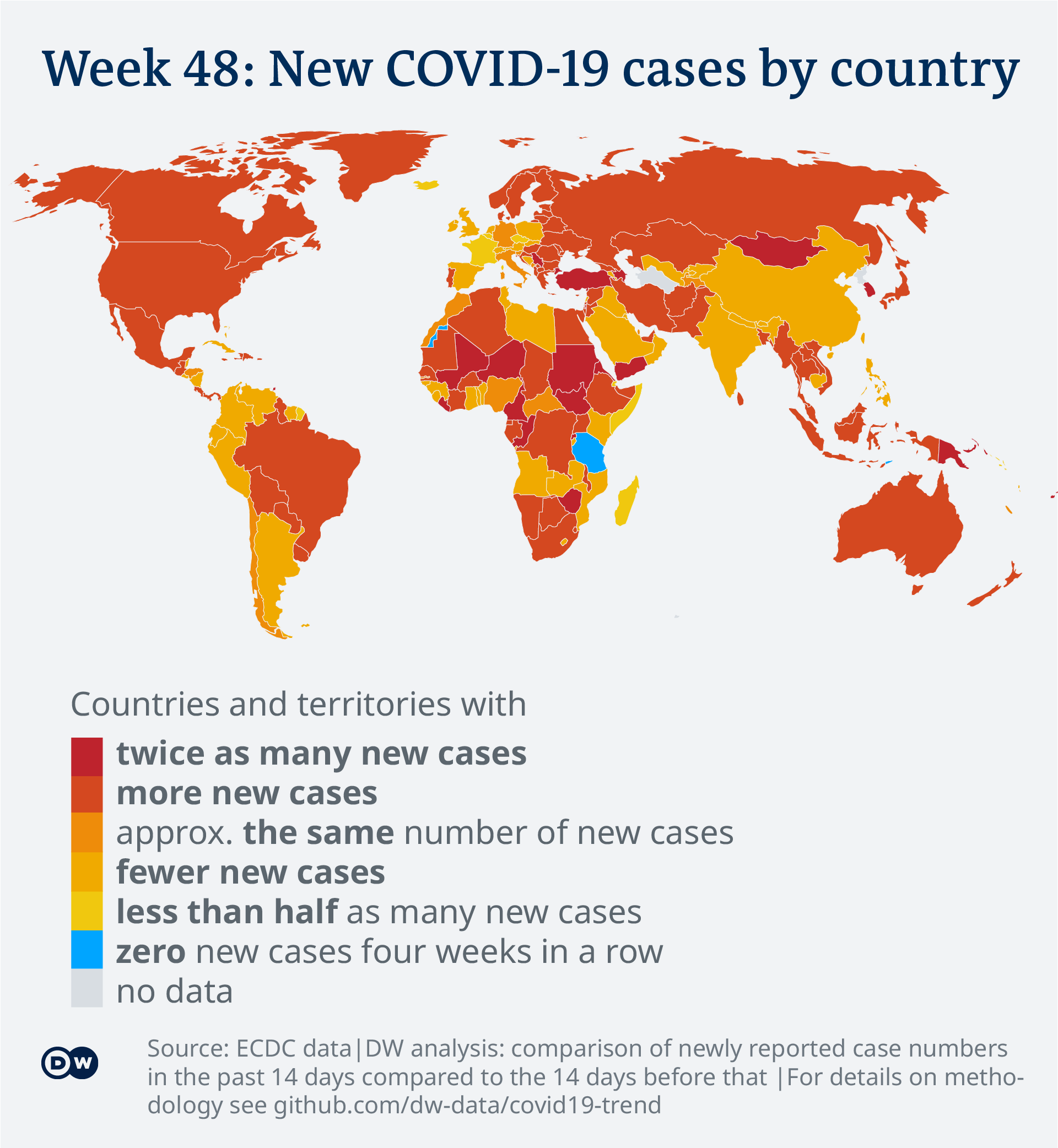 Data visualization: COVID-19 global new case numbers trend - map calendar week 48