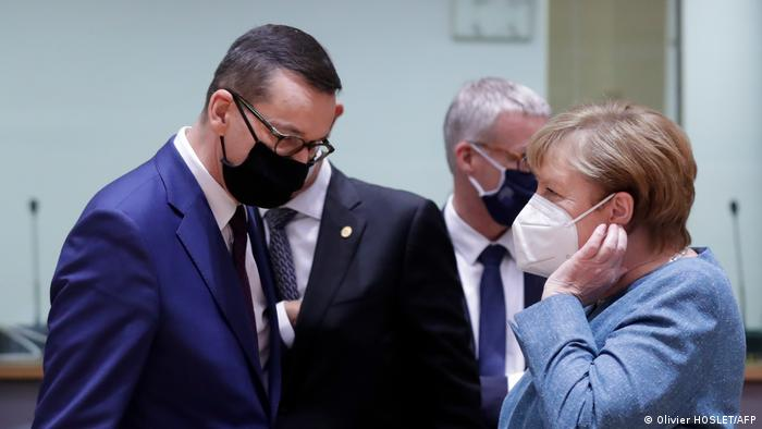 Polens Minsterpräsident Morawiecki und Kanzlerin Merkel