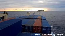 A screen grab of a German military helicopeter landing on the Turkish cargo ship