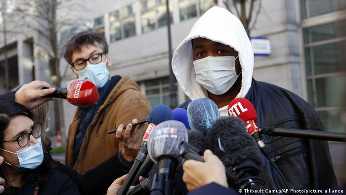 Music producer Michel Zecler speaks to the press before going into the Inspectorate General of the National Police in Paris, France