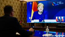 Polen Minsterpräsident Morawiecki und Kanzlerin Merkel | Videokonferenz