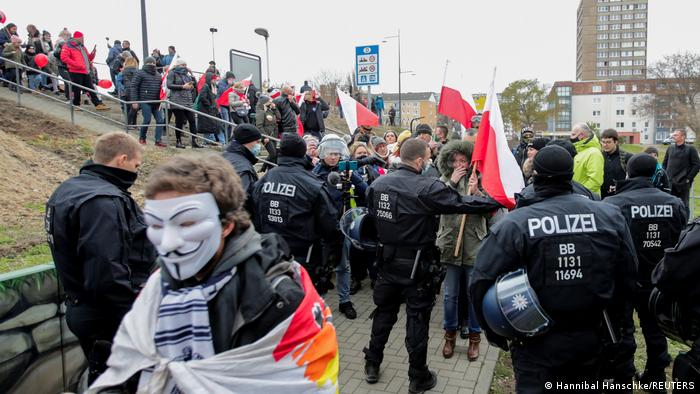 Police carry out checks on protesters near the German-Polish border