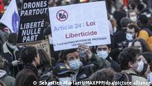 Frankreich Protest gegen das neu verabschiedete Sicherheitsgesetz in Paris