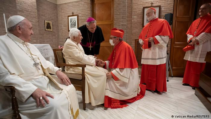 Pope Francis and the new cardinals visit the retired Pope Benedict