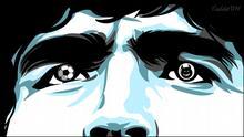 Karikatur von Vladdo, Maradona: zwischen Himmel und Hölle