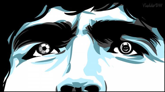 Dibujo del rostro de Diego Maradona, con una pelota de fútbol en el ojo derecho, y un diablo en el ojo izquierdo.