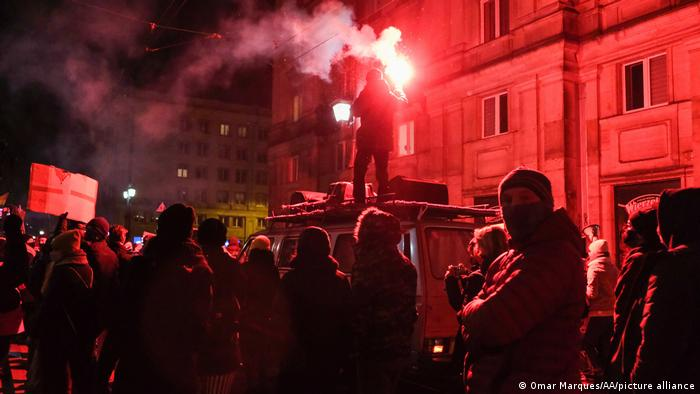 Women's rights protesters took the streets in Warsaw