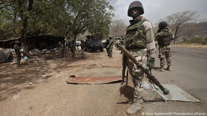 Nigerian soldiers man a checkpoint in Gwoza, Nigeria