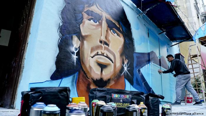 A mural of Maradona painted on a wall in Naples, Italy