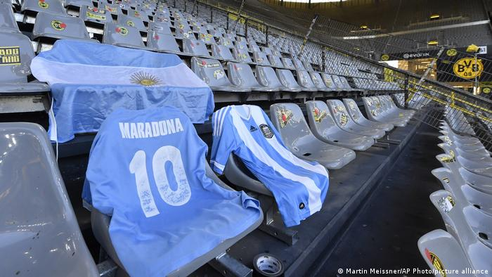 Maradona's shirt on display in an empty German soccer stadium