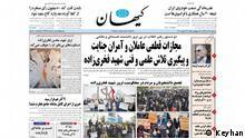 Iran Titelseite von der Tageszeitung Keyhan am 29.11.2020