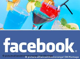 A Facebook logo with cocktail glasses