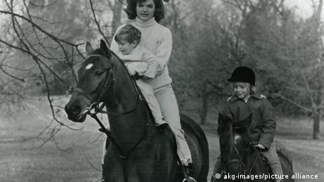 Jacqueline Kennedy and her children ride horses in Virginia, USA