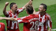 Munich's scorer Franck Ribery and his teammates Holger Badstuber and Ivica Olic, from left celebrate their sides third goal during the German Soccer Cup final between FC Bayern Munich and Werder Bremen in Berlin, Germany, Saturday, May 15, 2010. (AP Photo/Michael Sohn) ** Eds Note: German spelling of Munich is Muenchen **